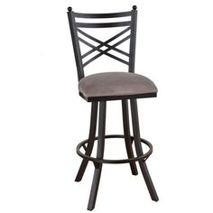 "Callee Rochester 34"" Swivel Bar Stool Frame Finish: Flintrock Gray, Upholstery: Mayflower Cocoa"