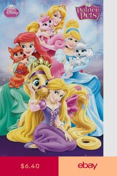 Disney Princess - Palace Pets Poster Featuring  Aurora (Sleeping Beauty)  and Beauty Ariel and Treasure Cinderella and Pumpkin Rapunzel and Blondie 06d234a68d