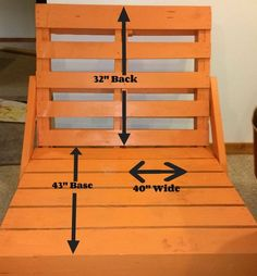 Amazing DIY Pallet Lounge Chair by Sandra-Sterne-Wilkinson - the back is 32 inches base is 43 inches and it's 40 inches wide (Diy Pallet Chair) Diy Pallet Furniture, Diy Pallet Projects, Furniture Projects, Pallet Ideas, Painted Furniture, Woodworking Projects, Yard Furniture, Outdoor Furniture, Fun Projects