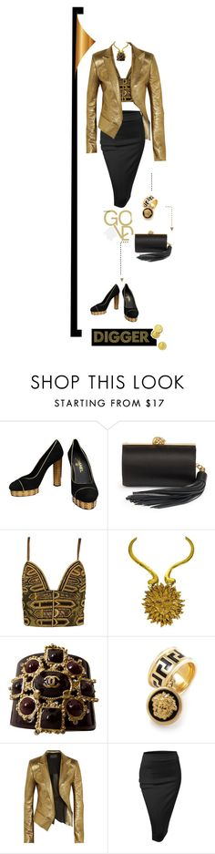 """""""Gold Digger"""" by fl4u ❤ liked on Polyvore featuring Chanel, Alexander McQueen, Versace, Yves Saint Laurent, Haider Ackermann and Doublju"""