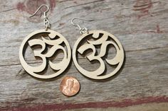 Big Om Yoga Wood Cut Earrings light weight by AmysArtWear on Etsy