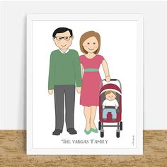 Custom family portrait, cartoon characters with personalized features and clothes as per your pictures or description. Unique gift.