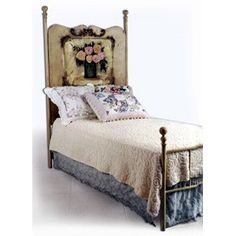Delight your little kid's room with this vintage-inspired iron bed from Corsican Iron Furniture featuring delicately hand painted paneling. This iron bed is hand forged by skilled craftsmen using classic styling and traditional workmanship