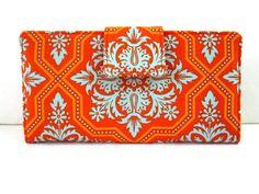 Handmade women wallet orange with blue aqua floral by PatrisCorner, $41.00