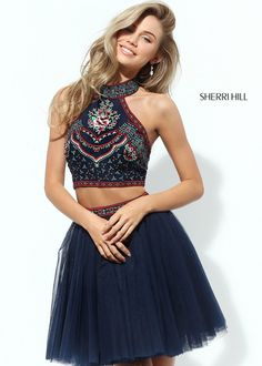 Sherri Hill Navy Multi Two Piece Floral Embroidered Dress, Sherri Hill Style 50645 - Homecoming Dresses