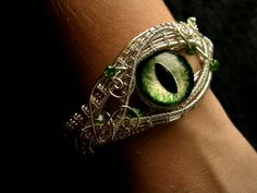 CUSTOM Order - Gothic Steampunk Art Bracelet - Green Glow Silver Dragon Eye Forest Fire Peridot - One of a kind - Wire Wrapped Woven Cuff Leaf Necklace, Moon Necklace, Simple Necklace, Eye Jewelry, Gothic Jewelry, Silver Jewelry, Jewelry Necklaces, Fantasy Jewelry, Crystal Jewelry