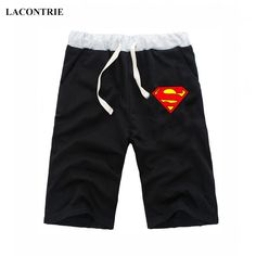 Lacontrie Fashion Casual Shorts Cotton Men Cartoon Superman Shorts Male Beach Sweatpants Print Men Short Pants Fitness Trousers