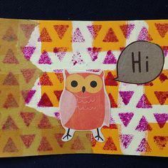 Ow Postcard made by Teresa of @tgetsmessy for @ihanna's DIY Postcard Swap Spring 2016 #diypostcardswap #diy #owl