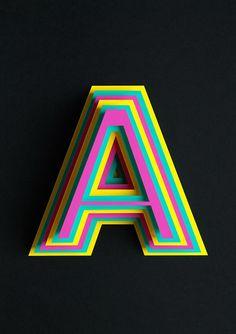 rainbow letter - Atype Paper Art by Lobulo Design |