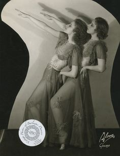 """Gaylen Sisters: vintage promotional 8x10 photo from 1934.The Gaylene sisters were a multi-talented duo. In 1933 they were touring vaudeville's famous Orpheum Circuit and were billed as dancers and contortionists. Then in 1935 they were billed as """"acrobatic dancers"""" in the 1935 short film entitled The Love Department. Apparently they were also singers, as they are listed on the short's soundtrack as well."""