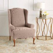 Sure Fit Stretch Jacquard Damask Wing Chair Slipcover Slipcovers For Chairs Wingback Chair Slipcovers Wing Chair