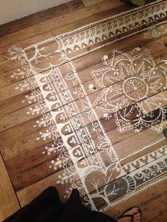 déco de parquet en bois - faux tapis