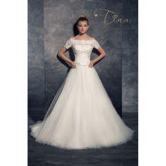 Prekrásne svadobné šaty s veľkou sukňou s čipkovým korzetom s krátkymi rukávmi Bridal Dresses, One Shoulder Wedding Dress, Salons, Formal Dresses, Fashion, Bride Dresses, Dresses For Formal, Moda, Bridal Gowns