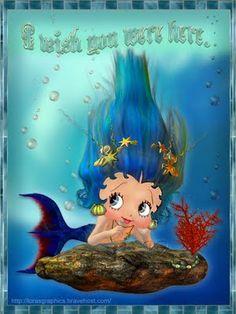 Betty Boop Blue hair mermaid