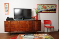 low dresser used for big screen tv