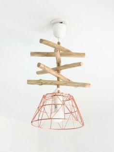 Lustre - suspension- plafonnier en bois flotté et rose gold - cuivre rosé : Luminaires par un-jour-de-pluie72