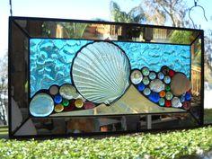 Stained Glass Panel Mixed Media Seashell Suncatcher by ArtfulFolk, $89.95