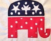 Republican Elephant Applique Design for Embroidery