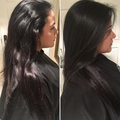Before and After. Smooth look. Jet black. Front layers. Shiny. Paul Mitchell.Awapuhi