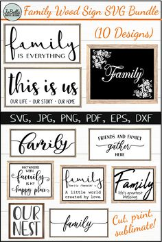 Wood Sign Family Farmhouse SVG Bundle, Sublimation PNGs and Printables - SoFontsy - 10 Beautiful Farmhouse Family designs. Cut, print, sublimate – all files included! A great deal o - Family Wood Signs, Wood Signs Sayings, Diy Wood Signs, Sign Quotes, Signs About Family, Family Wall Art, Wood Signs For Home, Family Print, Pallet Signs