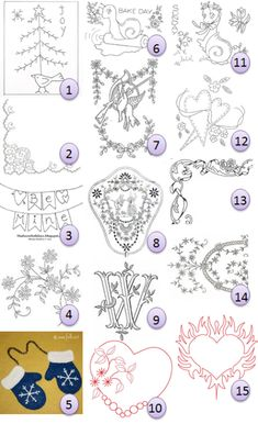 This collection of free hand-embroidery patterns includes several awesome valentine designs
