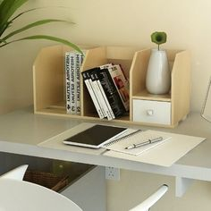 Furinno Pasir Series Home office products bring you the small space storage that you need on your table top. Featuring a small pull out drawer for storage of office stationery. The main material- Particleboard is Do It Yourself Organization, Office Supply Organization, Desktop Organization, Organizing Ideas, Craft Organization, Hanging File Organizer, File Organiser, Organizers, Small Space Storage
