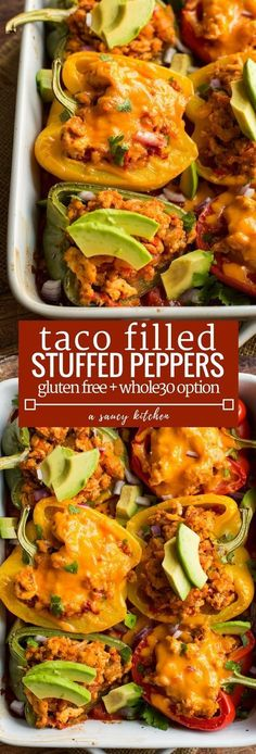 A healthier option for your next Taco Tuesday: Paleo friendly Taco Stuffed Peppers | Gluten Free + Low Carb + Whole30 Option Whole 30 Stuffed Peppers, Clean Stuffed Peppers, Stuffed Pepper Recipes, Vegetarian Stuffed Peppers, Southwest Stuffed Peppers, Low Carb Stuffed Peppers, Ketogenic Stuffed Peppers, Mexican Food Recipes, Real Food Recipes