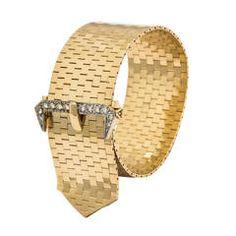 1940s Elegant Diamond Gold Brick Mesh Belt Buckle Bracelet
