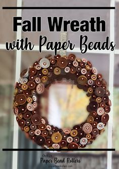 I've been working on this tutorial for a few weeks now, watching the colors change around me and become reflected in the project. Unfortunately, we don't have a ton of pretty fall colors in North Carolina this year. But there is still so much beauty in the different shades of brown and gold I'm seeing! This wreath is the same way. It encompasses the many variations of the fall season. Not only that, you could choose a completely different color set and make a wreath for any season! Make Paper Beads, How To Make Paper, How To Make Beads, Diy Jewelry, Handmade Jewelry, Jewelry Making, Diy Fall Wreath, Paper Crafts, Diy Crafts