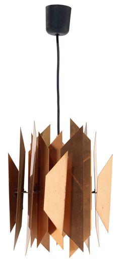 Copper Prototype Ceiling Light for Lyfa, Vintage Lamps, Vintage Lighting, Cool Lighting, Lighting Design, Nordic Design, Scandinavian Design, Chandelier Pendant Lights, Chandeliers, Mid Century Lighting