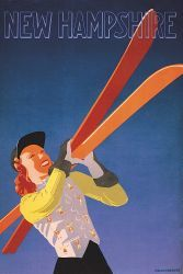 New Hampshire, vintage ski poster by Hechenberger.