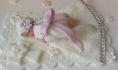 CHRISTENING GOWN BABY Cake Topper Fondant Cake Topper Diamond studded dress communion dress cross baptism