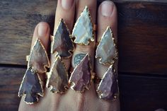 ARROWHEAD Agate Rings /// Electroformed Gemstones /// door luxdivine, $65.00