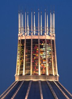 Liverpool RC Cathedral spire-the light through the stained glass inside is just spectacular.
