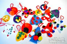 Crafts with kids felt ornaments with puffy paint and pom poms