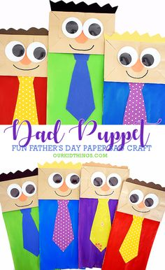 Paper Bag Dad Puppets Dad is so great, make him a Paper Bag Dad Puppet Craft for Father's Day! Such a fun craft with a paper bag, paint, paper, and large googly eyes! Preschool Crafts, Fun Crafts, Crafts For Kids, Preschool Christmas, Christmas Crafts, Cadeau Parents, Paper Bag Crafts, Paper Bags, Paper Bag Puppets
