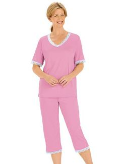 Lace-Trimmed Pajamas from Carol Wright Gifts on Catalog Spree, my personal digital mall.