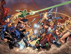 It's Superman vs. He-Man in a new six-issue series by Keith Giffen - DC Universe vs. The Masters of the Universe. Dc Heroes, Comic Book Heroes, Comic Books Art, Comic Art, Book Art, Crossover, Clark Kent, Dc Universe, Supergirl