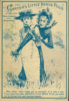 Use Carter s Little Nerve Pills a cure for nervousness and dyspepsia front by Boston Public Library Vintage Labels, Vintage Ephemera, Vintage Cards, Vintage Images, Vintage Signs, Old Advertisements, Advertising, Vintage Prints, Vintage Posters
