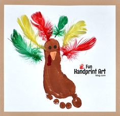 Make a footprint turkey using feathers! Fun footprint craft for preschoolers and can be displayed as Thanksgiving decoration.