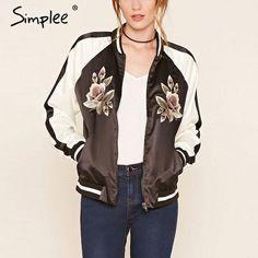 Simplee Satin floral embroidery bomber jacket coat Autumn Winter 2016 street jacket women Casual basic jackets sukajan