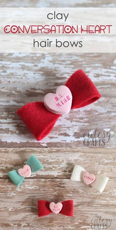 Clay Conversation Heart DIY Hair Bows Learn how to make DIY hair bows . Clay Conversation Heart DIY Hair Bows Learn how to make DIY hair bows for Valentine's Day, featuring clay conversation hearts! These are so cute and perfect for the holidays. Easy Hair Bows, Making Hair Bows, Bow Hair Clips, Mardi Gras, Heart Diy, Baby Girl Bows, Felt Bows, Converse With Heart, Diy Bow