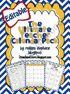 The Ultimate Teacher Calendar Pack Chevron from 2 Teach and 2 Love on TeachersNotebook.com (19 pages)  - The Ultimate Teacher Calendar Pack: Are you looking for a cute and fun calendar pack for this upcoming school year? No need to create one! I have created this calendar pack just for you! Great News: It is Editable!
