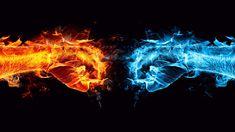 2560×1440 Fire Ice Fist Wallpaper