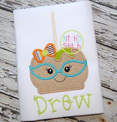 I2S Candy Apple Glasses Girl Applique design