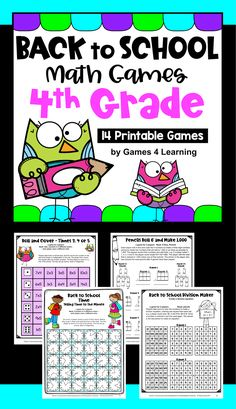 Back to School Math Games Fourth Grade: Beginning of the Year Activities Math Board Games, Math Boards, Fun Math Games, Math Activities, Third Grade Math Games, Fourth Grade Math, Beginning Of The School Year, Back To School, School Places
