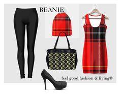 """RUNWAY TREND 2017 WOMEN - Feel Good Fashion & Living®    www.marijkeverkerkdesign.nl  Red Plaid Bodycon Dress, Black Leggings, Black Italian Heels, Cosmopolitan Hand Bag, Red Plaid Beanie Hat"""