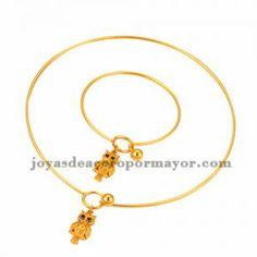 juego collar y pulsera de dije buho lindo en acero dorado inoxidable para mujer…