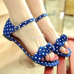 Blue polka dot sandals - totes cute ;)