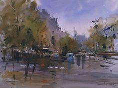 Paris, wet day by Eugen Chisnicean Watercolor ~ 45cm x 60cm